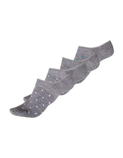 5-pack of melange checked no show socks