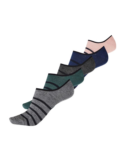 5-pack of blue striped no show socks