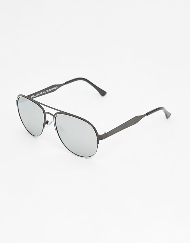black-double-bridge-sunglasses by pull-&-bear