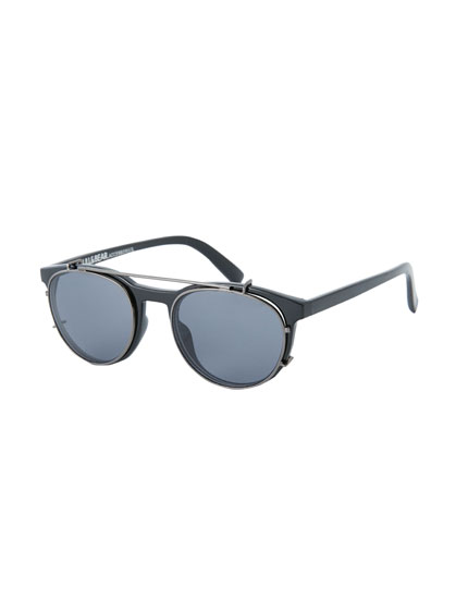 Black double bridge sunglasses