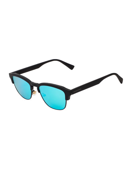 Hawkers Rubber Black Clear Blue Classic Sunglasses