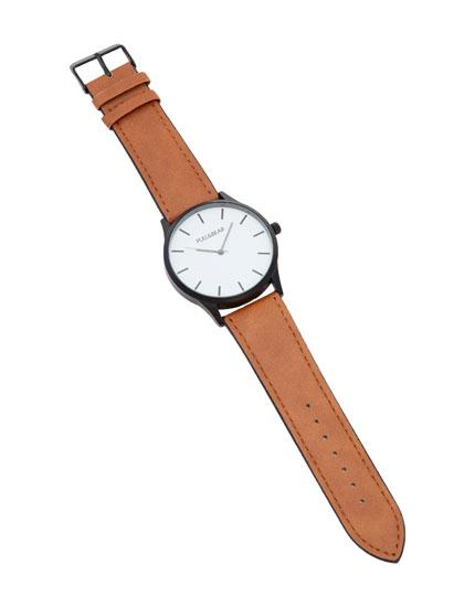 Armbanduhr aus Kunstleder mit weißem Zifferblatt