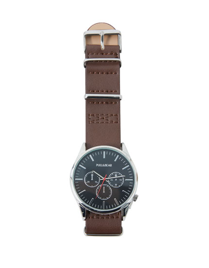 Faux leather watch with stopwatch