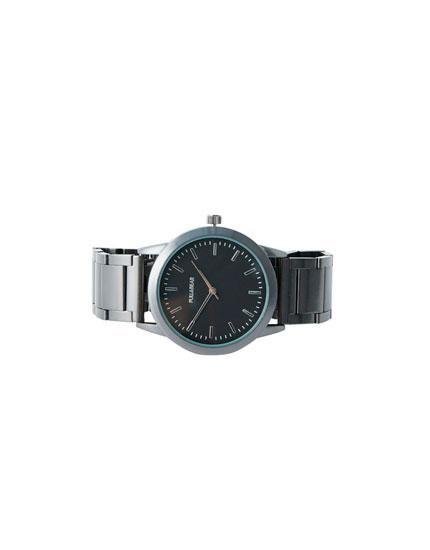 Reloj metálico negro mate