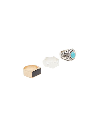 Pack of 3 stone rings