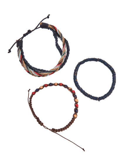 Pack of multicoloured and black braided bracelets