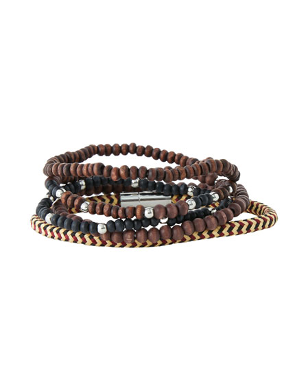 Pack bracelets fins marron