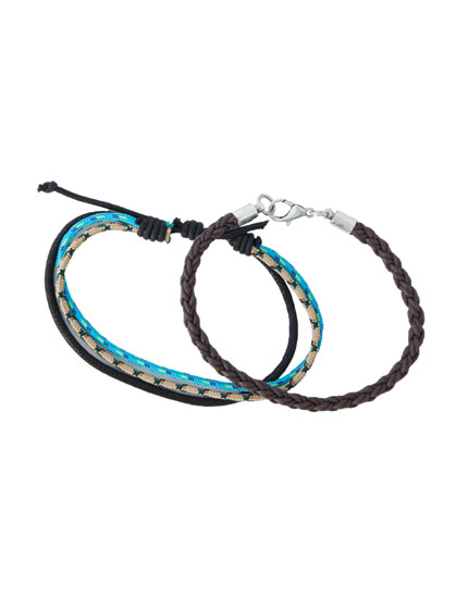 Pack of coloured cord and braided bracelets