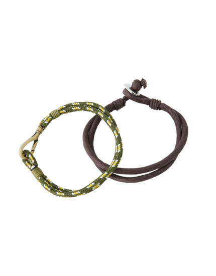 Pack of cord and mustard yellow motif bracelets
