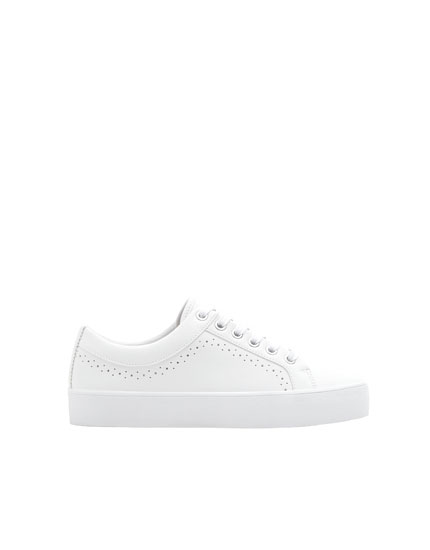 Basic white chunky sole sneakers