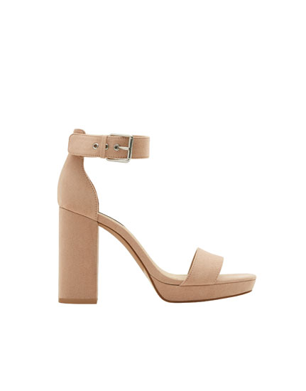 Nude high-heel sandals with buckle
