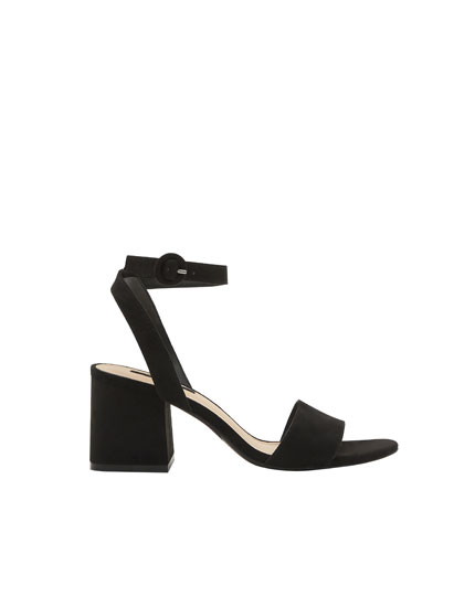 Black mid heel sandals with ankle strap