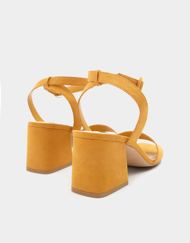 bef459915e Mustard yellow mid-heel sandals with ankle strap - PULL&BEAR