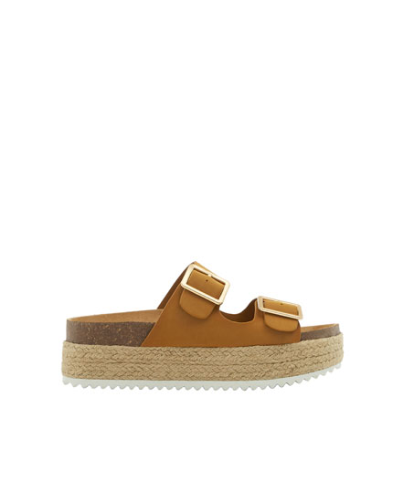 Mustard yellow jute sandals with buckles
