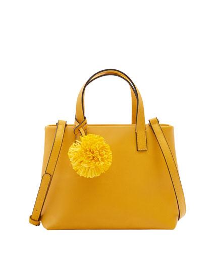 Ponpon detaylı mini shopper çanta