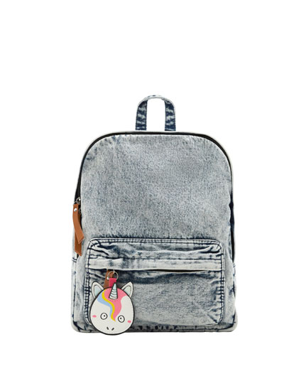 Denim backpack with unicorn detail