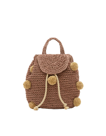 Mini backpack with pompoms