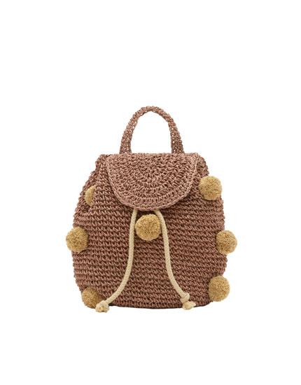 Mini rygsæk med pomponer