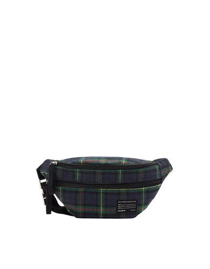 Green check belt bag