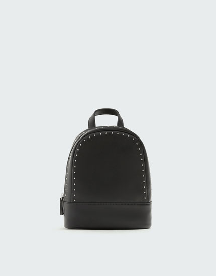 Black mini backpack with stud details