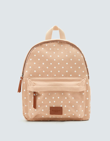 Pink polka dot backpack