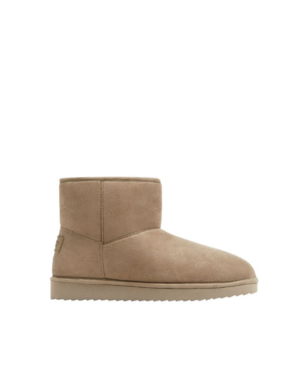 Basic beige winter ankle boots