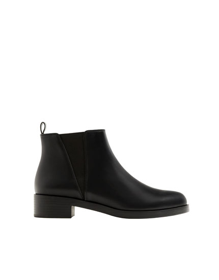 Basic black flat ankle boot