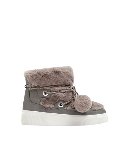 Grey urban winter ankle boots