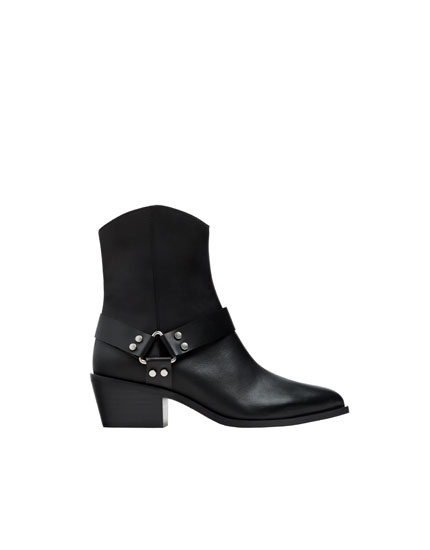 Black leather cowboy ankle boots