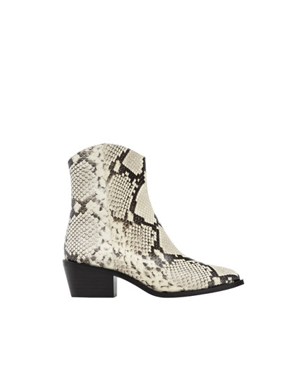 Bottines cowboy similicuir imprimé animal blanc