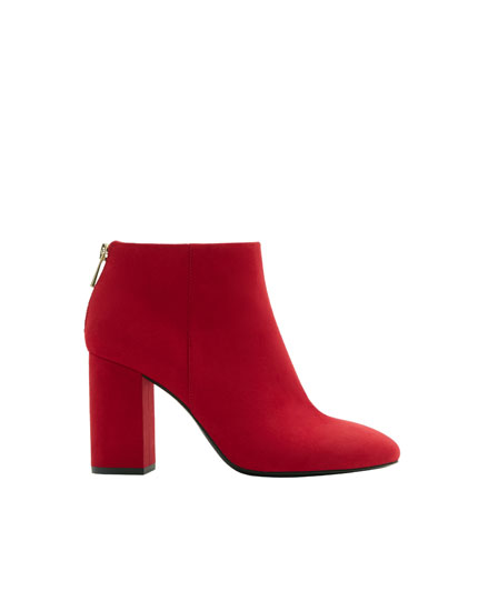 Basic red high-heel ankle boots