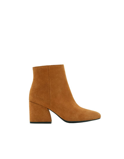Brown split suede high-heel ankle boots