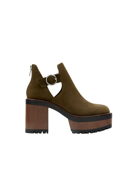 Bottines talon bloc vertes
