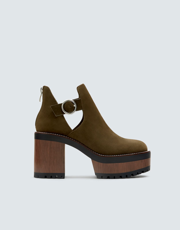 Green Block Heel Ankle Boots by Pull & Bear