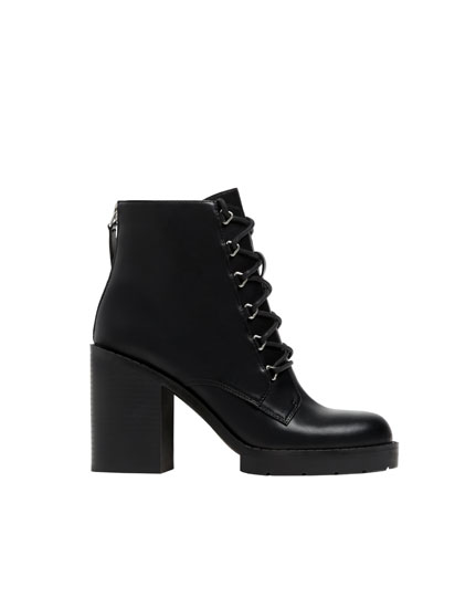 Black lace-up high-heel ankle boots