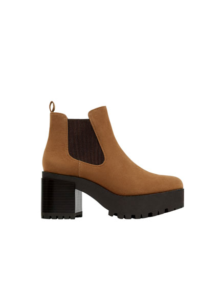 Bottines chelsea marron plateforme