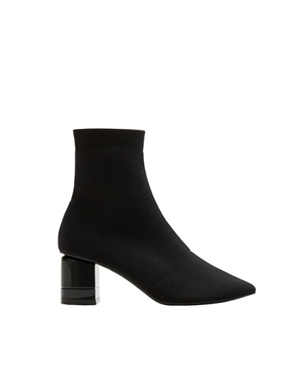 Fabric high-heel ankle boots