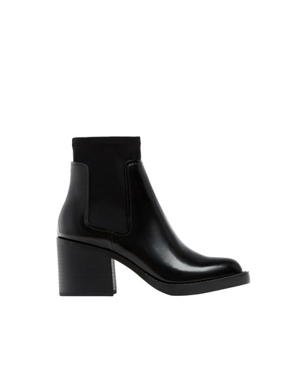 High-heel ankle boots with glossy finish