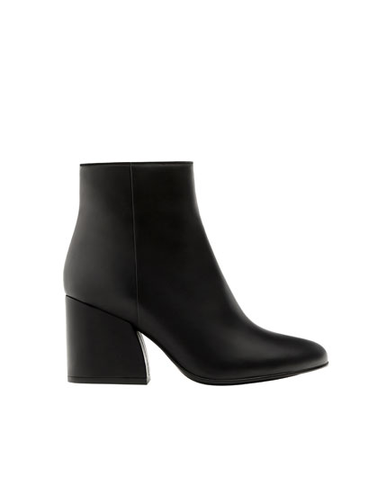 Leather high-heel ankle boots
