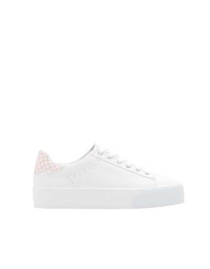 Trainers with pink chequered detail