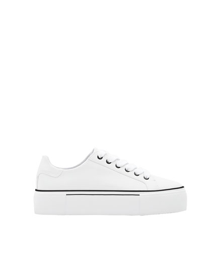 White chunky sole fashion sneakers