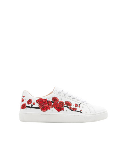 Floral embroidery trainers