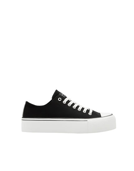 Black chunky sole fashion trainers