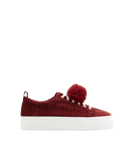 Corduroy trainers with pompom