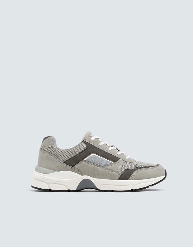 Pull & Bear - Modische, urbaner Sneaker in Grau - 1