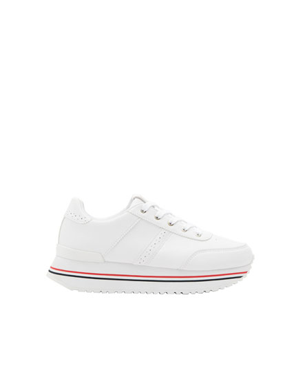 White platform trainers