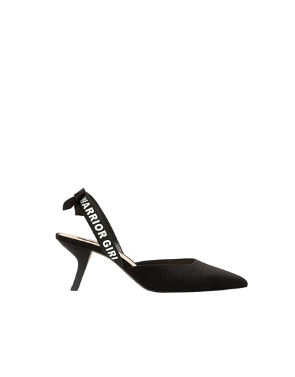 Black slogan-printed slingback mid-heel shoes