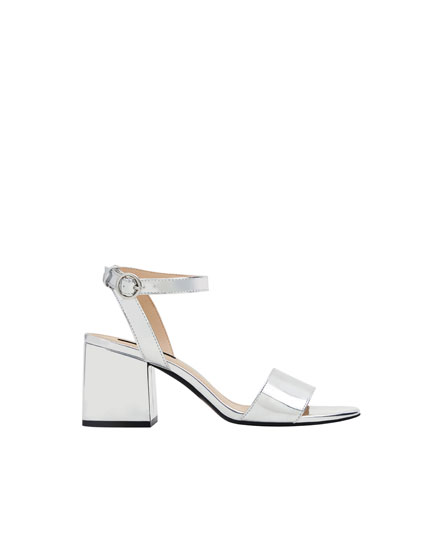 Metallic mid-heel sandals