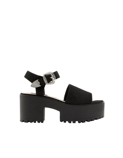 High-heel sandals with buckle detail