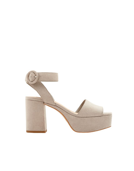 Grey high-heel sandals with ankle strap